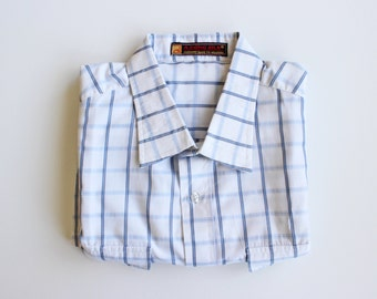 vintage men plaid shirt/ button down shirt/ short sleeves shirt/ grid shirt/ medium men shirt