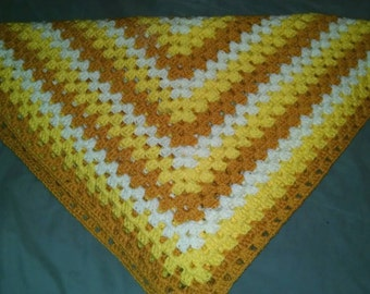 Radiant Yellow Squares Afghan. Crochet blanket.