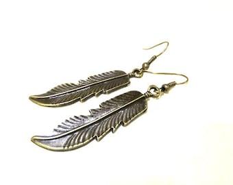 SALE! Bronze Feather Earrings, Simple Earrings, Bronze Earrings, Feather Jewellery, Feather Dangle Earrings, Bronze Dangle Earrings, Gift