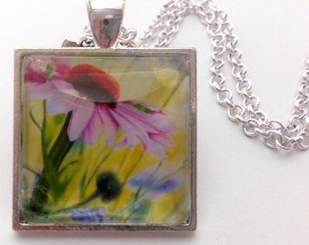 Watercolour Pendant, Necklace, Echinacea Flower , Art Jewellery, Mothers day