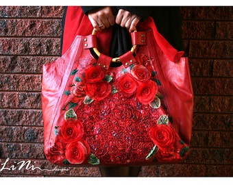 Rose - OOAK handmade leather handbag with altered fabric