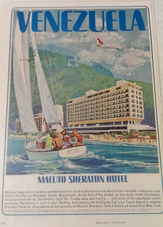 Vintage Ad Advertising, Wall Hanging Decor, Travel Advertisement, Vacation Ad, Sheraton Hotel Venezuela Wall Art, Holiday Magazine 1964