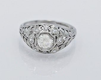 Platinum & .51ct. Diamond Art Deco Engagement Ring - J34624