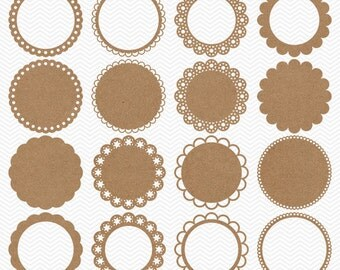 Brown Kraft Paper Circle Clipart - Cardboard Circle Frames - Digital Kraft Paper Doilies Clip Art - Doily Shapes - Printable Kraft Circles