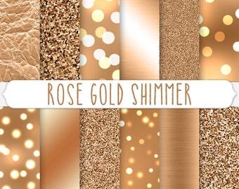 Metallic Copper Digital Paper - Rose Gold Glitter - Bokeh Wallpapers - Light Sparkles - Rose Gold Foil Textures - Shiny Background Graphics