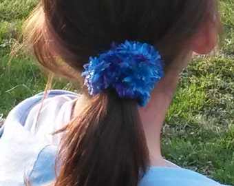Furry blue hair scrunchie