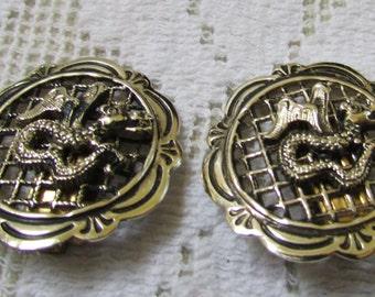 Vintage silver toned dragon clip on earrings Western Germany