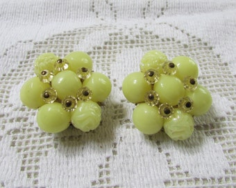 Yellow  plastic roses and crystals cluster clip on  earrings West Gremany