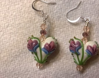 Artisan Lampwork and crystal silverplated earrings