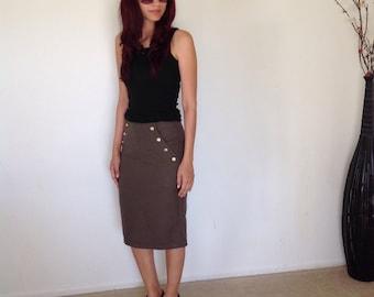 High Waisted Button Skirt Fitted Medium