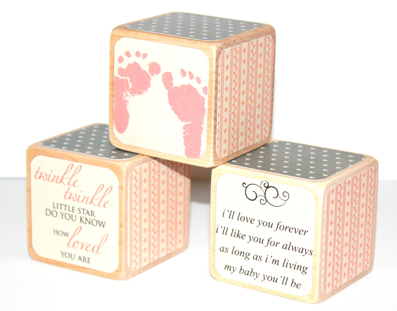 Shabby Chic Baby Blocks Pink and Grey Nursery Baby Girl
