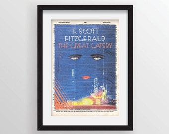 The Great Gatsby by F. Scott Fitzgerald - Cover Art on Recycled Dictionary Page
