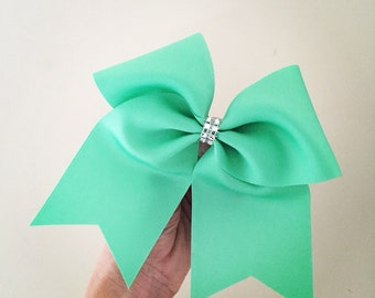 Mint Green Cheer Bow with Rhinestone trim
