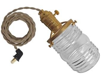 GLASS JAR LAMP w/ unfinished-brass socket