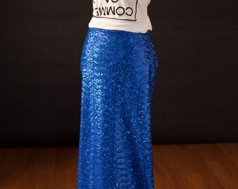 Cobalt Blue Sequin Maxi Skirt