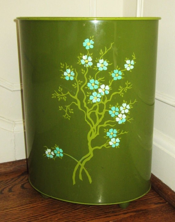Vintage Ransburg Green Floral Shabby Chic Metal Waste Can With