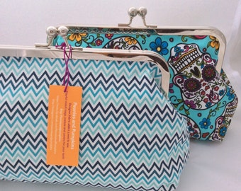 Love Chevrons! Clutch Bag / Purse / Handbag in Turquoise and Blues