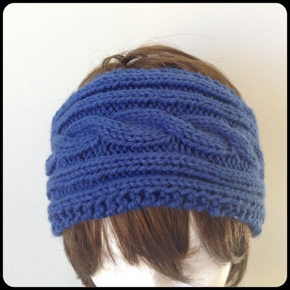 Items similar to Knit headband - knit ear warmer - dark blue cable knitted he...