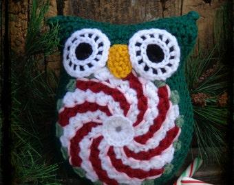 Peppermint Crochet Owl Stuffed Animal, Owl Amigurumi, Christmas Pillow, Owl Christmas Decor, OFG FAAP