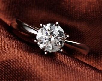 Timeless 18K White Gold Moissanite Ring, White Gold diamond ring, Engagement Ring, 0.5 carat