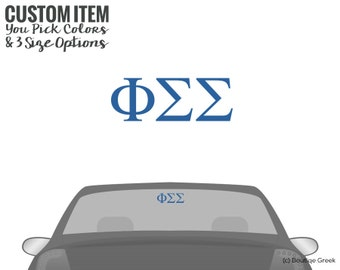 PhiSig Phi Sigma Sigma Classic Letters Car Laptop Dorm Window Vinyl Sorority Decal Sticker