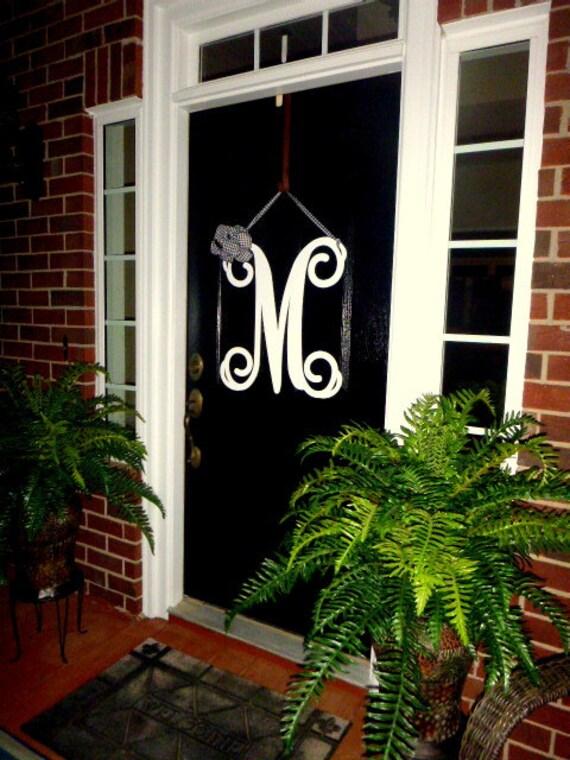Initial monogram front door wreath metal by housesensations for Metal letters for front door