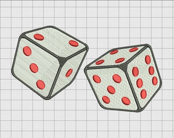 Dice Embroidery Design in 2x2 3x3 4x4 and 5x7 Sizes