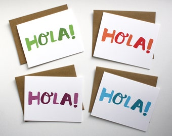 Hola! Pack of Four Cards - Hand Lettered Spanish Greeting Notecards