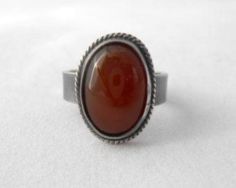 Sterling Silver Ring, Silver Ring, Silver Band, Carnelian Ring, Wide Band Ring, Vintage Look Ring, Statement Ring, Gemstone Ring