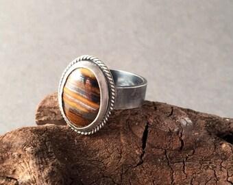 Sterling Silver Ring, Silver Ring, Silver Band, Zebra Jasper Ring, Wide Band Ring, Statement Ring, Brown Stone Ring, Gemstone Ring