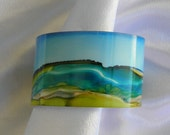 Bracelet cuff painted metal alcohol ink landscape design # 50 1.5 inches wide