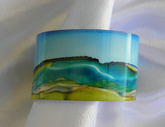 Bracelet Cuff Painted Metal Alcohol Ink Landscape Design 50