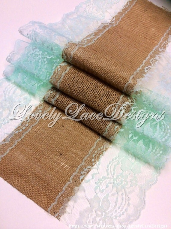 Burlap lace table runner 5ft 10ft mint lace by for 10 foot table runner