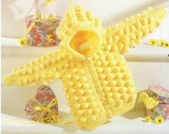 puffball  baby crochet cardigan hoodie coat vintage crochet pattern PDF