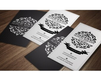 Pre-Made Damask  Business Card  Double Sided Business Cards   - Digital Business cards - Printable Business Card