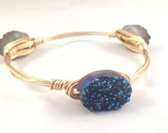 The Brooks Bauble || Blue Druzy Oval Bauble Bracelet