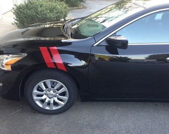 "4"" Dual Fender Stripe Hash Mark Stripe Decal Graphic Kit For Nissan Altima - Multiple Colors Available"