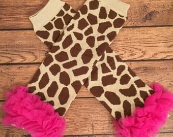 Giraffe with hot pink chiffon ruffle legwarmers