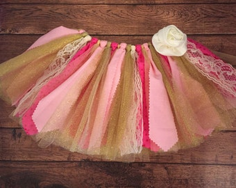 Hot Pink, Light Pink, Ivory, and Gold Scrap Fabric Tutu