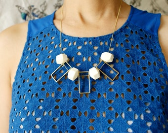Art Deco Statement necklace, geometric statement necklace, Ivory hexagon lucite bead rectangular rectangular woven chain necklace