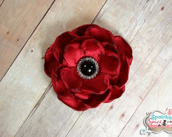 Medium Red and Black Layered Satin Flower Hair Clip, Red Poppy Flower Fascinator, Holiday, Layered Petal Flower, Red Rose, Red Poppy