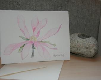 Magnolia pink flower card with envelope original Watercolour