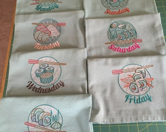 Machine Embroidered Flour Sack Dish Towel Set (7 Towels)