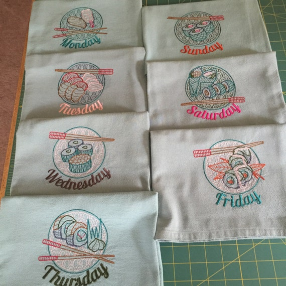 Machine embroidered flour sack dish towel set towels