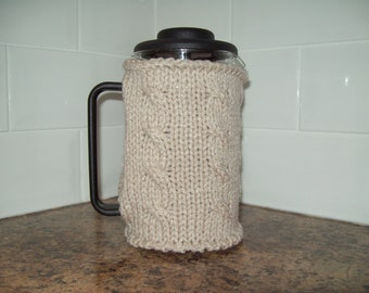 Cafetiere cosy. Chunky knit. Cable detail. Selection of colours: Stone, Raspberry