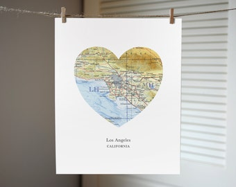 Los Angeles Map Print, California Heart Map Print, California Art, Custom City Print, Gift Print