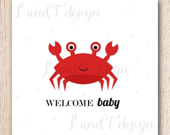 Welcome Baby {Crab} Card