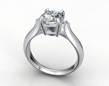 Engagement Ring with 2 small side diamonds 3D CAD digital file - JT13