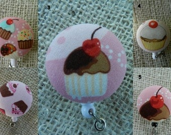 Cupcakes ~ Retractable ID Name Badge Holder Reel