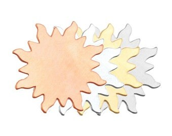 """SUN Metal Stamping Blank, Sun Pendant Blanks, 1 1/4"""" 24 ga Aluminum, Sun with Rays, Qty 6 to 12, For Stamping Texturing Sunburst Design"""